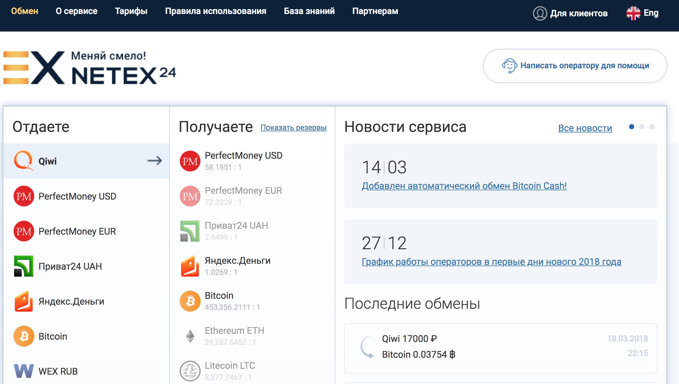 Сервис обмена netex24
